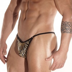 Silver Zebra Printed Fabric With Rings Brief