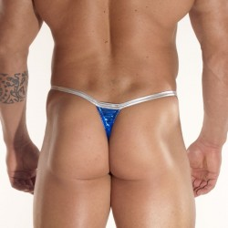 Shine Blue Fabric With Clips Thong
