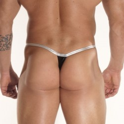 Shine Black Fabric With Clips Thong