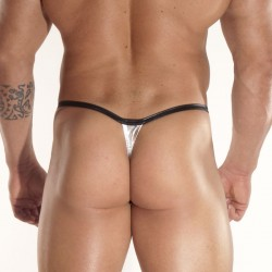 Shine Silver Fabric With Clips Thong