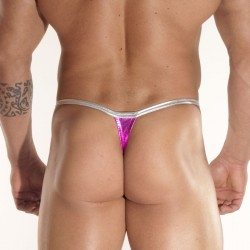 Shine Fuschia Fabric Thong