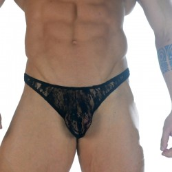 Elastic Lace Fabric Men's Thong