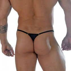 Dot Printed Fabric With Rings Men's Thong